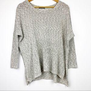 AZALEA grey long sleeve light sweater side slits S
